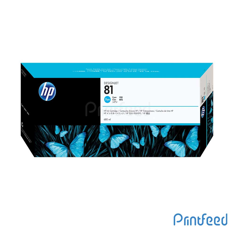 HP 81 680 ml Dye Cyan Inkjet Print Cartridge