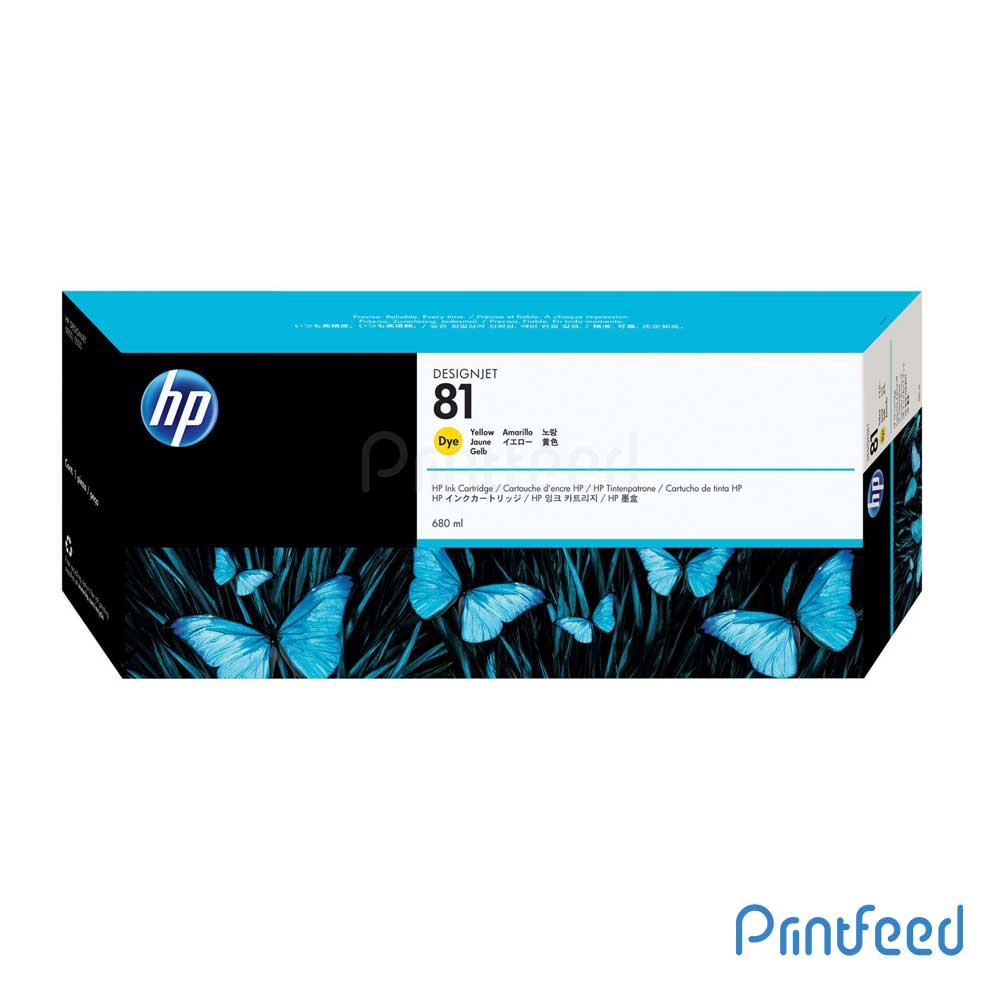 HP 81 680 ml Dye Yellow Inkjet Print Cartridge
