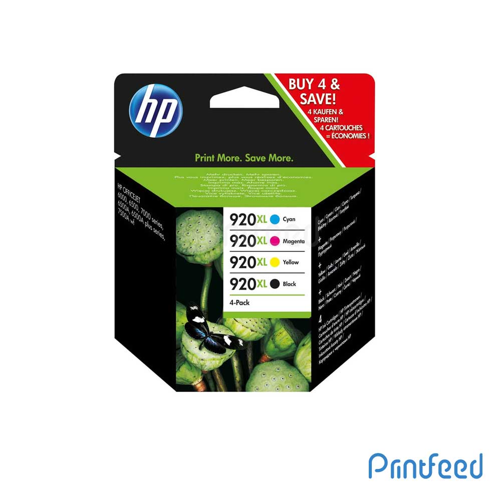 HP 920XL 4 Color Inkjet Print Cartridge Pack