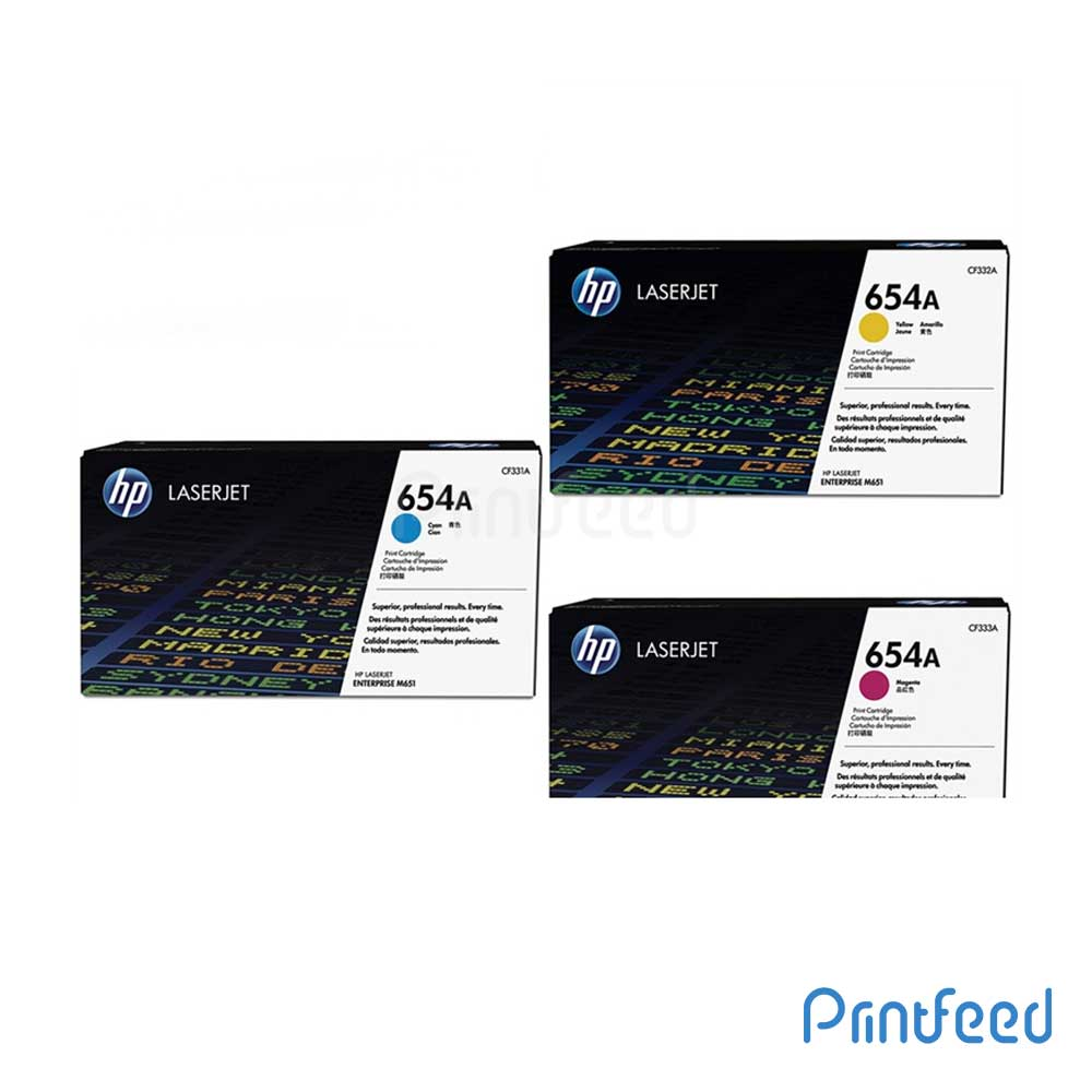HP 654A 3 Color LaserJet Cartridge Pack