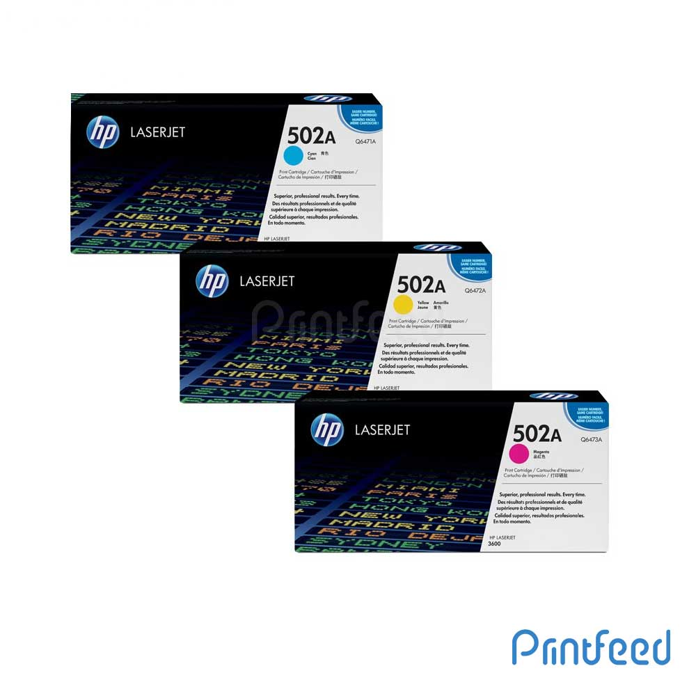 HP 502A 3 Color Laserjet cartridge Pack